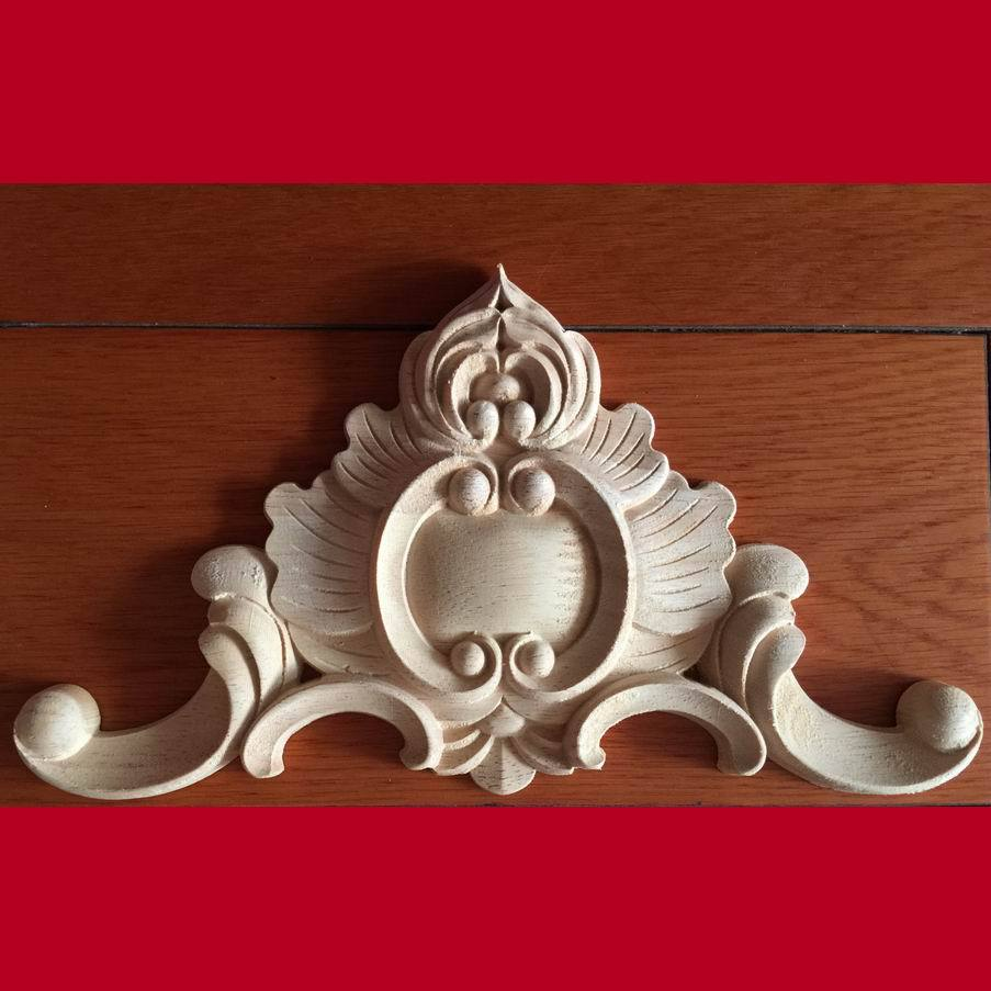 Dongyang Wood Carving Corner Flower Smd Fashion Applique Wood Motif Furniture Stickers Door