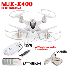 MJX X400/X400-1 RC UAV WFI camera 2.4G 4CH 6-Axis Real-time video RC Helicopter drone Quadcopter add 5pcs battery Free shipping