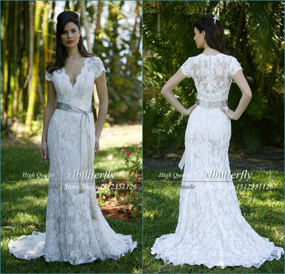 Romantic vestido de noiva renda sereia v neckline short for Short ivory lace wedding dress
