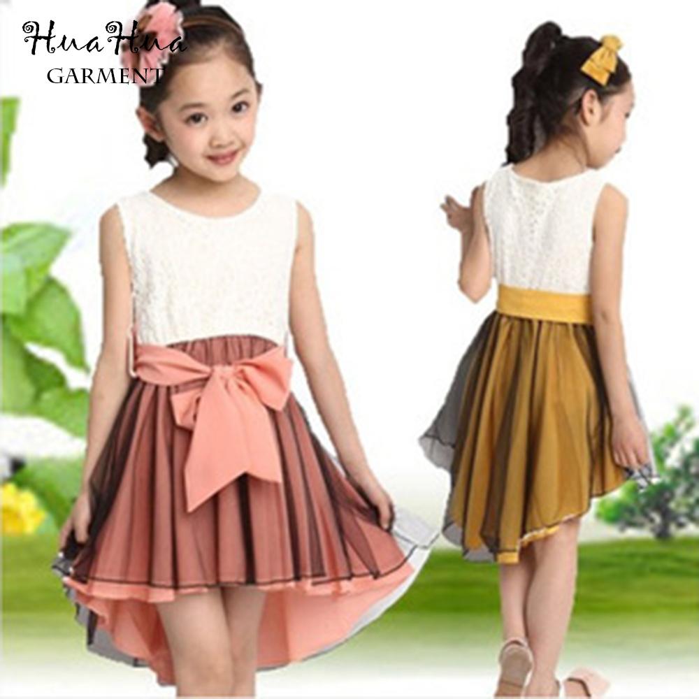 2016 Summer children's clothing girls dresses cotton fishtail large chiffon dress(China (Mainland))
