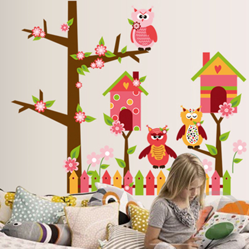 Large size owls on the tree wall stickers children room for Stickers para habitaciones