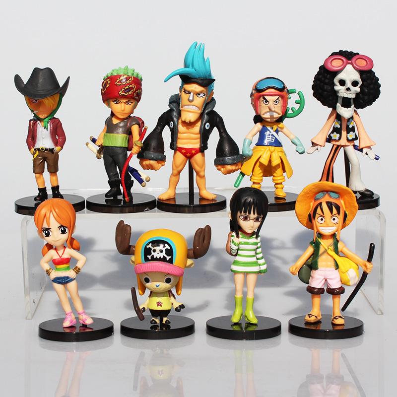 Anime One Piece Mini Action Figures The Straw Hats Luffy/Roronoa/Zoro/Sanji/Chopper Figure Toys 9pcs/set(China (Mainland))