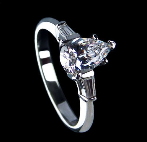 Romantic Wedding Ring Women SONA Synthetic Diamond Bridal Gift Sterling Silver 18K White Gold Plated Jewelry - sara qu's store