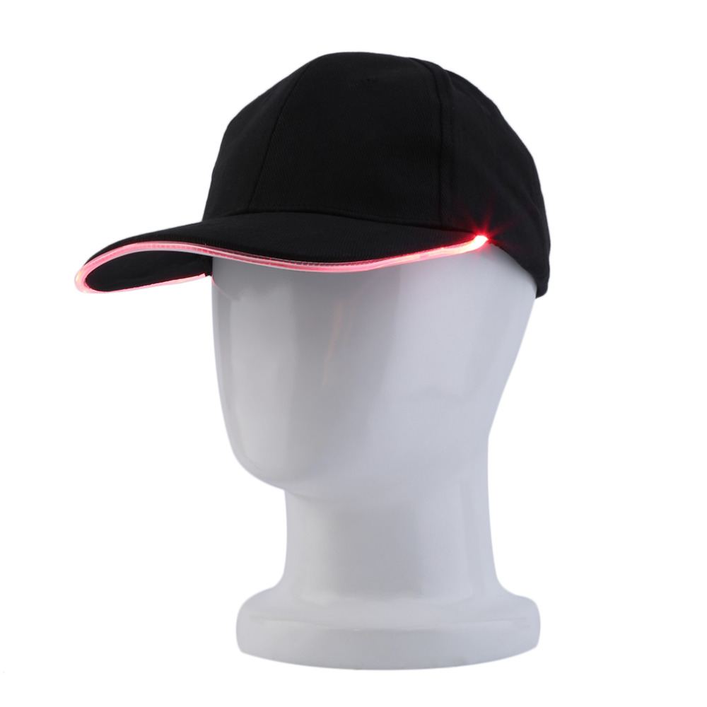 Fashion LED Lighted Glow Club Party Sports Athletic Black Fabric Travel Hat Cap 3Colors For Choose Free Shipping New Hot Selling(China (Mainland))