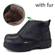 De gran tamaño de trabajo de seguridad de acero puntera de soldadura hombre zapatos de invierno nieve fur botines mujeres cuero genuino calzado caliente(China (Mainland))