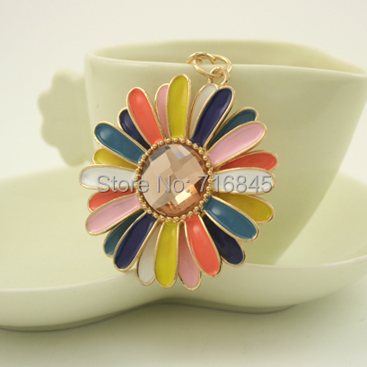 Crystal Flower Pendant Key Chain Ring Fashion Rhinestone Trinket Metal Keychain for Women Phone Bag Charms keyring PWK0256(China (Mainland))
