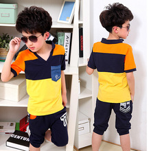 New 2015 Summer Style Boys Clothing Sets Yellow Toddler Kids Children Teenage Big Boys Sports Clothing Set t shirts+Pant 9 Years