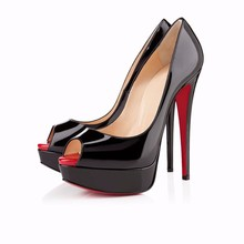 2016 Sexy High Heels Platform Red Sole Shoes Pumps Women's Dress Fashion Wedding sandals shoes lady Pump Colors Size 817-16RB-PA(China (Mainland))