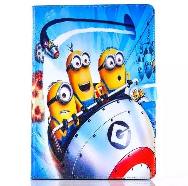 Fashion Cartoon New Despicable Me Minions Character PU Leather Stand Case smart Cover For ipad 2