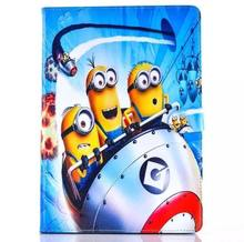 Fashion Cartoon New Despicable Me Minions Character PU Leather Stand Case smart Cover For ipad 2 3 4 with screen protector