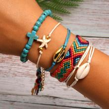 Lua menina 22 estilos concha pulseira conjunto cruz starfish boho tecer moda amizade charme pulseras femme yoga jóias por atacado(China)
