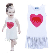 Retail Tassel Girls Dress Hey It's OK Letter Pattern Kids Dresses Heart-shaped Monster Printed Baby Girl Clothes vestido meninas(China (Mainland))