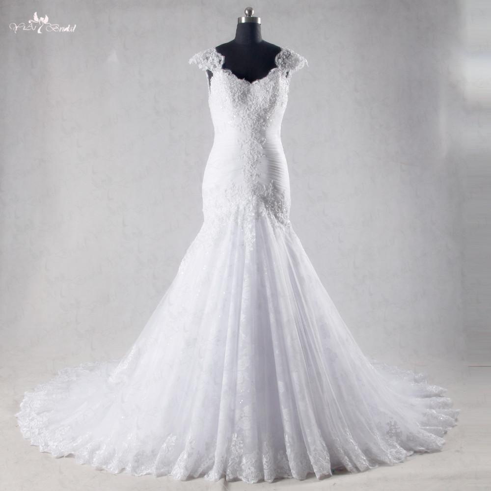 Mermaid Wedding Dresses Pleated : Aliexpress buy rsw white sweetheart cap sleeves