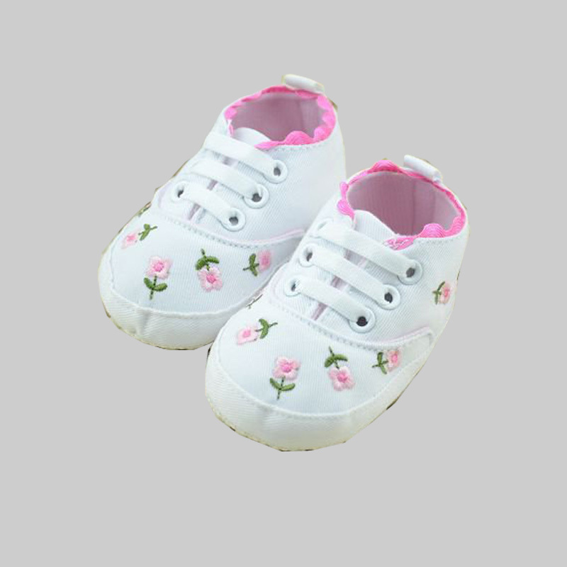 Cute embroidery flower newborn baby girl shoes soft sole