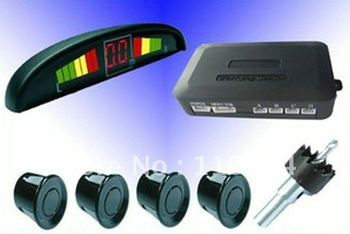 2x LED Display 4 Sensors System 12v  Indicator Parking  Assistance/parking sensor/Car Reverse Radar/Black/White/silvery/PS-B/W/S