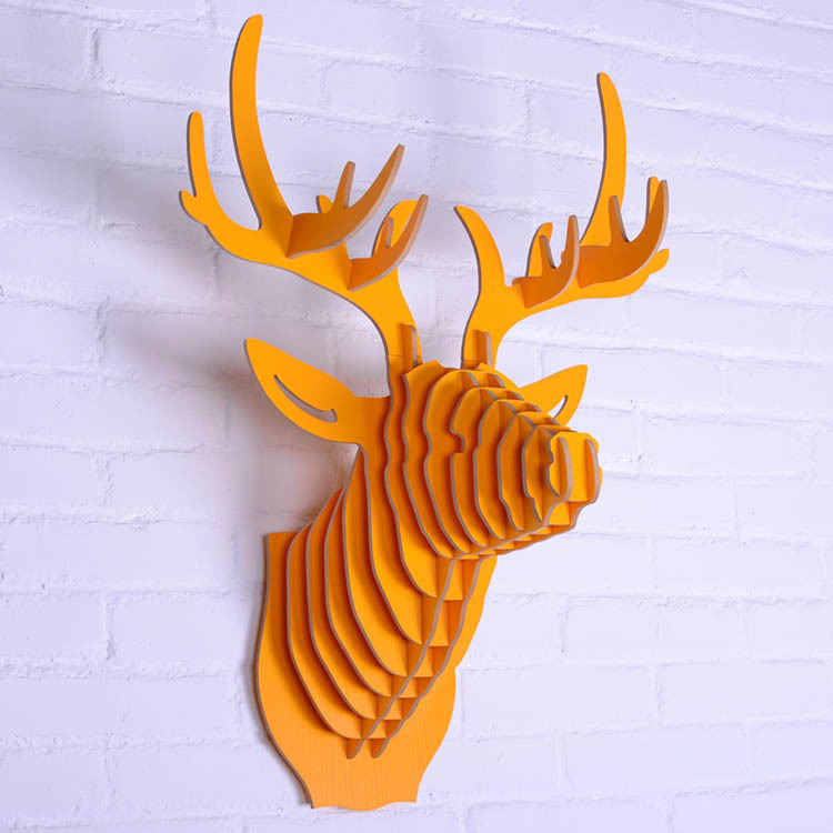 Design Carved good wood deer head hanging wall decor,DIY assembly 3D wooden crafts animal head Europe style home decor(China (Mainland))
