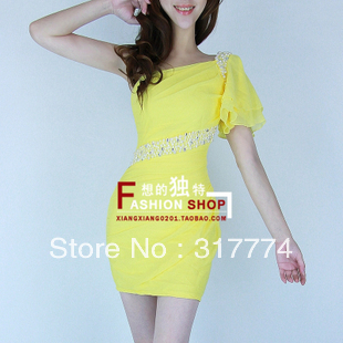 2012 fashion one shoulder chiffon ruffle short-sleeve beading slim hip slim sexy one-piece dress