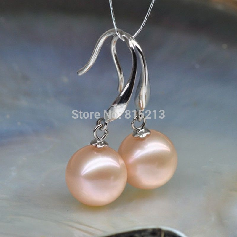 wb00428 aaa 10-11mm Round Natural pink Akoya Pearl Dangle Earrings 925 Silver<br><br>Aliexpress