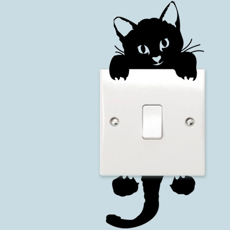Funny PVC Lovely Cat Switch Stickers DIY Home Decoration Living Room Kids Wallpaper Lights Switch Sticker Black(China (Mainland))