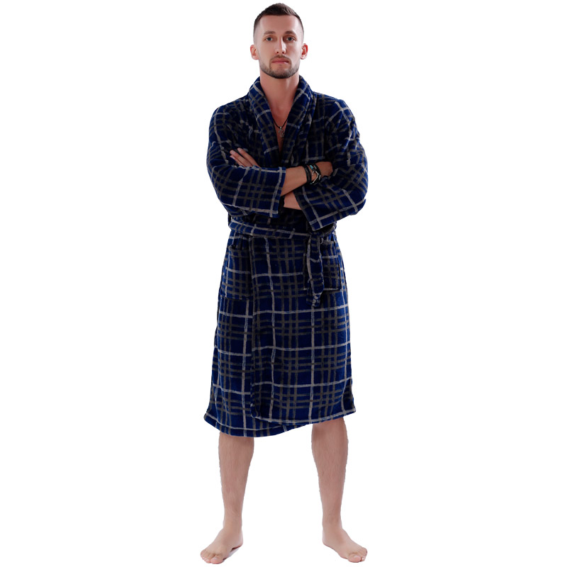 2018 Wholesale New Couples Coral Fleece Bath Robe Navy Plaid ...