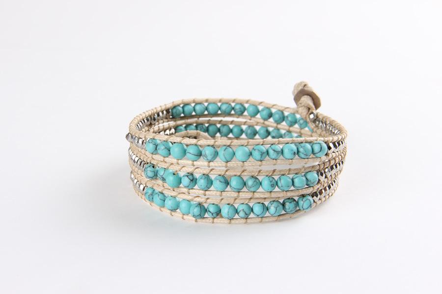 Fashion Ethnic 4 Strands Leather Alloy Natural Turquoise Weave Bracelet Women Men Handmade Friendship Bracelets - Ailsa Jewelry store