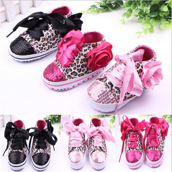 Гаджет  2015 New Leopard Baby Shoes Infant Toddler Big Flower Shoes First Walkers Kids Baby Bling Sport Shoes None Детские товары
