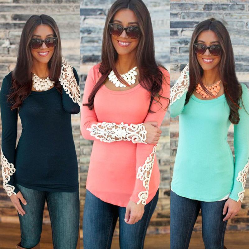 2015 fashion Autumn Clothing Women's Blusas crew neck Lace Shirt Long Sleeve Crochet boho embroidery Blouses Plus Size Tops(China (Mainland))