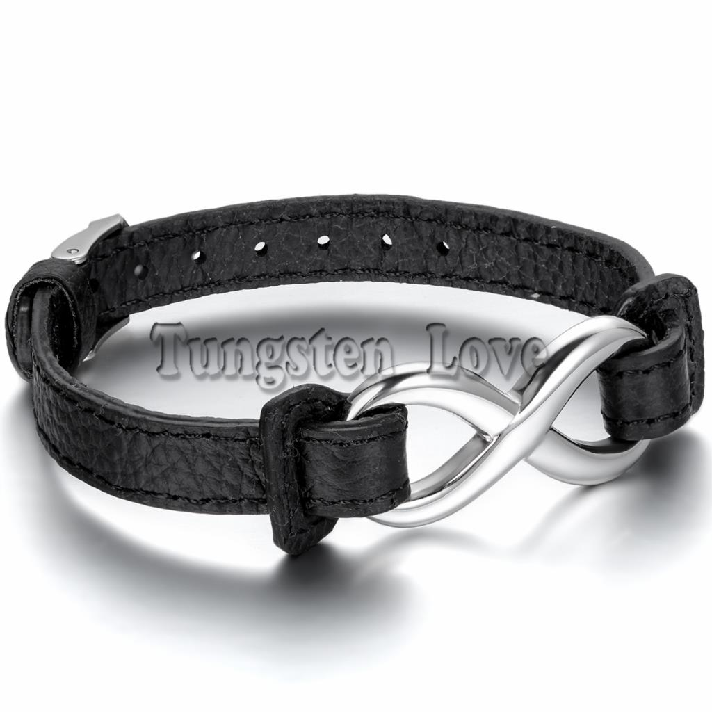 2015 New Fashion Black Leather Bracelet Stainless Steel Charm Infinity Men Women Buckle 23cm Length Adjustable - Tungsten Love Jewelry Store store