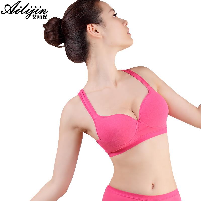 Sports underwear female vest design candy color push 100% cotton young girl anti-rattle sports wireless bra - shenzhen StarSun Technology Co., Ltd. store