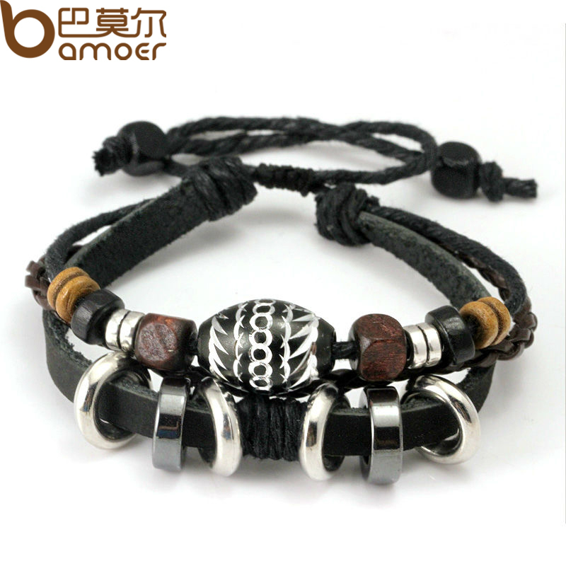 Wrap Black Leather Rope Bracelet Men Colorful Wooden Beads Metal Charms Fashion Jewelry PI0274 - bamoer Official Store store
