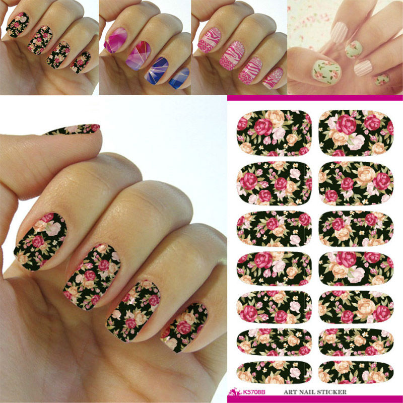 K5708B Water Transfer Nails Art Sticker Pink Red Rose Flowers Design Nail Stickers Manicure Decoration Patch Nail Decals NKH0008(China (Mainland))