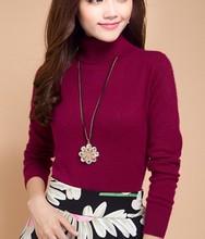 2019 Otoño Invierno suéter de cachemira Jersey femenino cuello alto suéter de cuello alto mujeres de color sólido señora suéter básico(China)