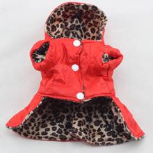 Filhote de Cachorro bonito Pet Cães Vestido de Leopardo Encabeça Trajes de Algodão Com Capuz Roupas XS-XL