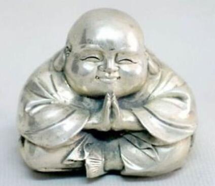 Old Tibet Silver Sitting Small Laughing Buddha Statue(China (Mainland))