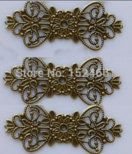 Antique Bronze Filigree Flower Wraps Connectors 74x31mm ** Hollow Flower Metal Charms Bead Caps for Jewelry Making