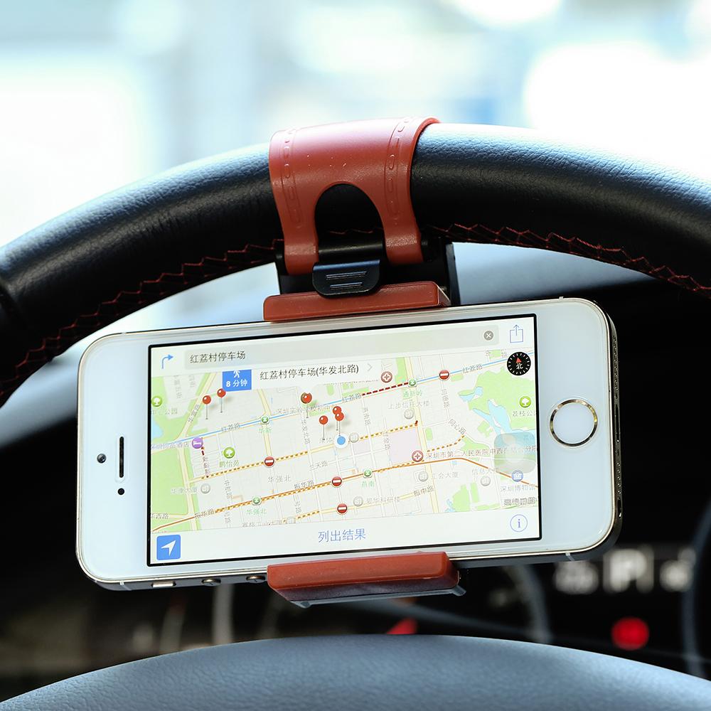 Car Steering Wheel Phone Socket Holder,Car Driving GPS Navigator Rack Sucker Clip Adjustable Retractable Cellphone Trestle(China (Mainland))