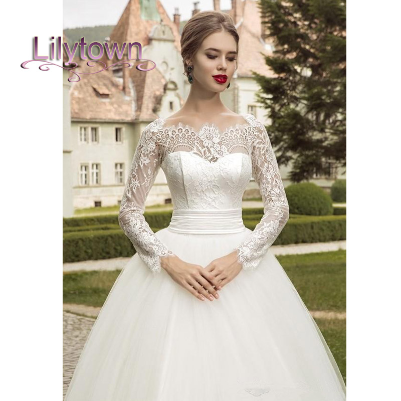White ball gown wedding dresses with long sleeve lace 2015 for Boat neck long sleeve wedding dress