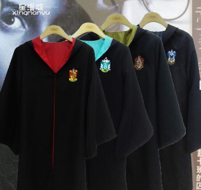 Hot vente Harry Potter Costume Cosplay gryffondor poufsouffle serdaigle serpentard adultes et enfants manteau 4 Styles Robe Cape(China (Mainland))