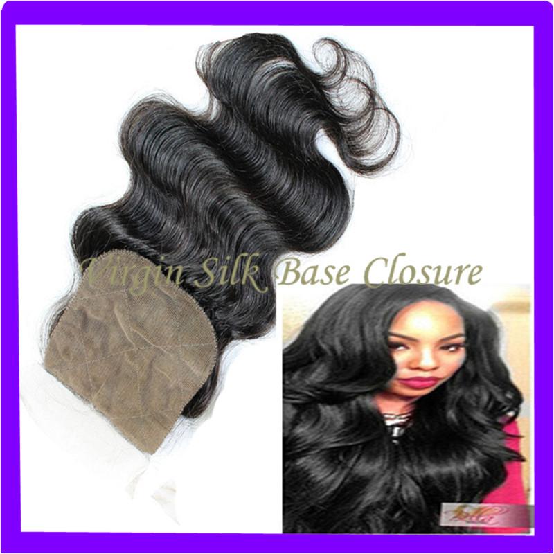 6a Peruvian Body Wave Silk Base Closure 4x4 Three Part King Hair Closures Silk Closure Peruvian With Baby Hair Silk Base Closure(China (Mainland))