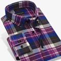 2017 Spring Winter Mens Long SleeveSlim Fit Button down Brushed Flannel Plaid Dress Shirt Comfort Soft