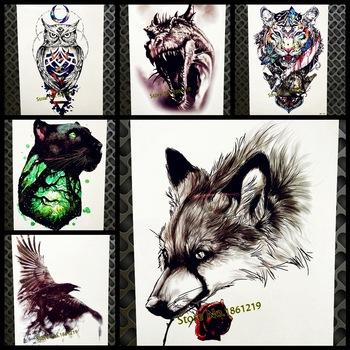 Dark Eagle Crow Temporary Tattoo Stickers Women Men Body Art Flash Tatoo Paste 21*15CM Fake Black Waterproof Tattoo Body ARt ARm