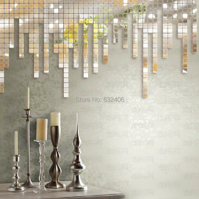100PCS. 2x2cm Fashion Wall sticker DIY 3D Sticker Mosaic style Mirror Decals living room Decoration - UK SEASY ONLINE-STORE store