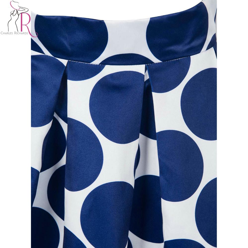 Primavera Outono Azul Marinho De Cintura Alta Bolinhas Imprimir Plissada Contraste Casual Uma Linha Skater Saia Maxi Queda 2016 Mulheres roupas