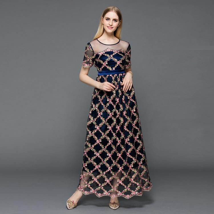 Top quality new 2016 summer long dress women allover floral patterns