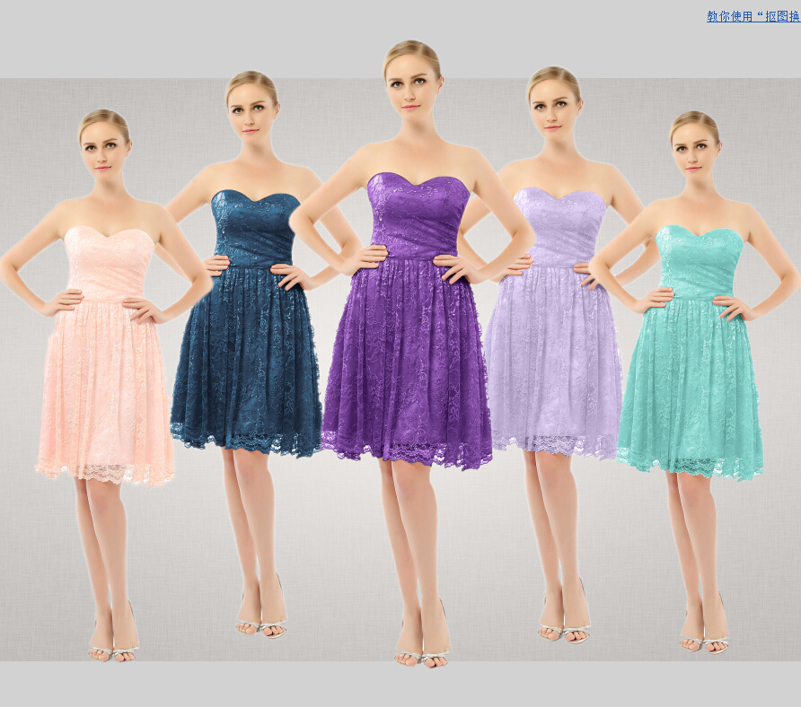 Short knee length strapless lace bridesamaid dresses with for Purple dresses for weddings knee length