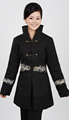 Free Shipping Black Chinese Women s Cotton Silm embroidery Long Jacket Coat Winter Overcoat Size S