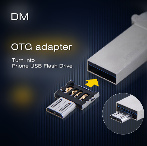 Free shipping New DM OTG adaptor OTG function Turn normal USB into Phone USB Flash Drive Mobile Phone Adapters(China (Mainland))