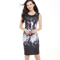 Female Summer Print Tunic Dresses Women Elegant Casual Sundress Office Work Business Party Black Dress Vestidos