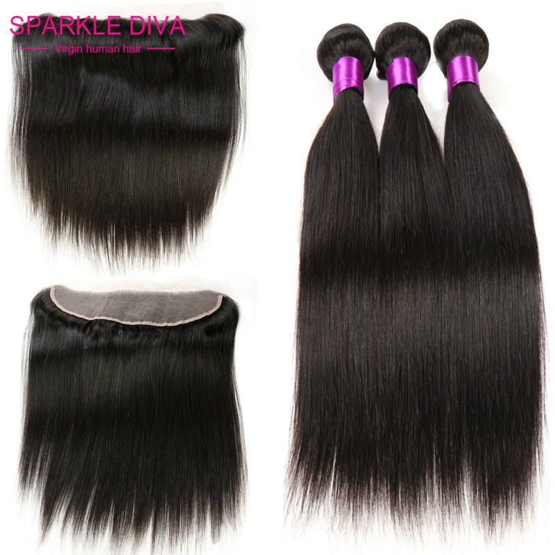 lace frontal closure with bundles straight Indian  virgin hair with closure full frontal lace closure 13x4 with bundles<br><br>Aliexpress