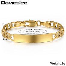 Davieslee id pulseira para bebê criança prata ouro enchido figaro corrente pulseira suave ligação do bebê 5mm 11.5cm dgbm100(China)